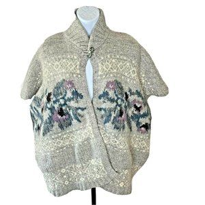 Stile Benetton Poncho Sweater Cape Floral One Size